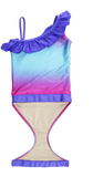 Fuchsia Turquoise Ombre one-shoulder swimsuit for girls by FASTEN. Features patented design that opens at the waist, making bathroom breaks and baby diaper changes faster and easier. Sizes 2T-10. UPF 50  sun protection built right in! One-shoulder design. Ombre varies slightly in each swimsuit. Open view.