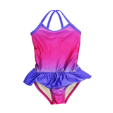 FASTEN swimsuit, Fuchsia Turquoise Ombre cross-back swimsuit for baby and toddler girls. Features patented design that opens at the waist, making bathroom breaks and baby diaper changes faster and easier. Sizes 6m-5. UPF 50 sun protection built right in! Cross-back swimsuit design. Ombre varies slightly in each swimsuit. Fuchsia Swimsuit.