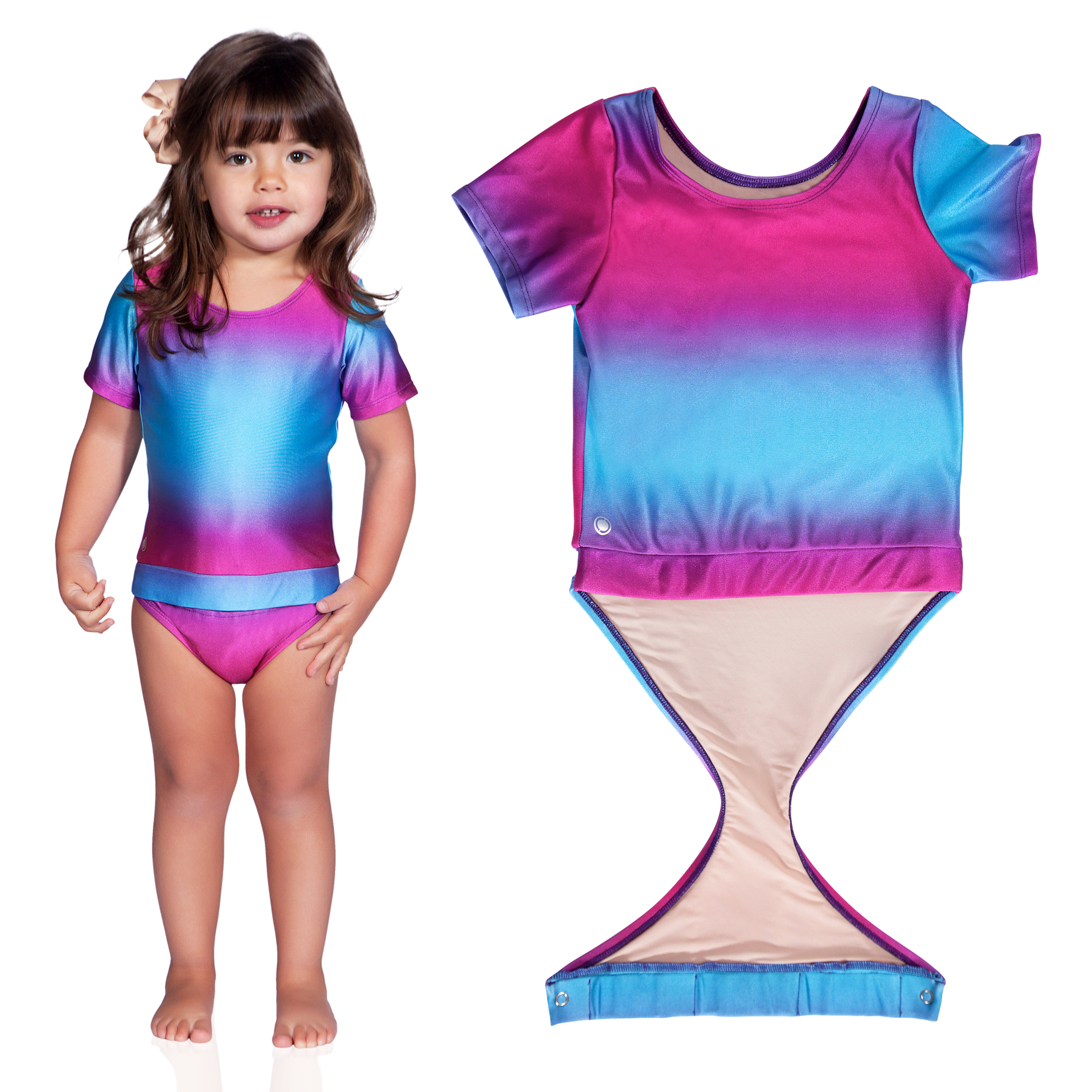 f08af8702468a Fits toddler girls · Fuchsia Turquoise Ombre short sleeve swimsuit by  FASTEN. Rash guard swimsuit.