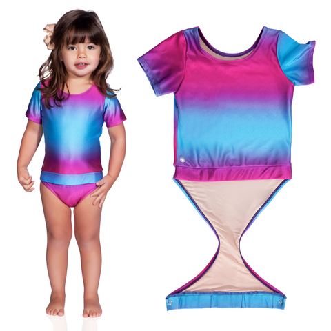 cfba3d9c7c873 Swimsuits · clear · Fuchsia Turquoise Ombre short sleeve swimsuit by  FASTEN. Rash guard swimsuit. Fits toddler girls Young ...