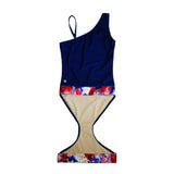 Indigo with Americana One-Shoulder Bathing Suit