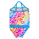 FASTEN rainbow hearts swimsuit for girls. Sizes 6m - 5. UPF 50 sun protection. Patented design that opens at the waist, making diaper changes and bathroom breaks faster and easier. Perfect for potty training! Cross-back design with hearts pattern. Back view.