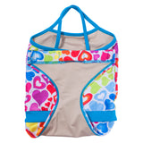 FASTEN rainbow hearts swimsuit for girls. Sizes 6m - 5. UPF 50 sun protection. Patented design that opens at the waist, making diaper changes and bathroom breaks faster and easier. Perfect for potty training! Cross-back design with hearts pattern. Hidden magnet in back to keep flap from falling in toilet.