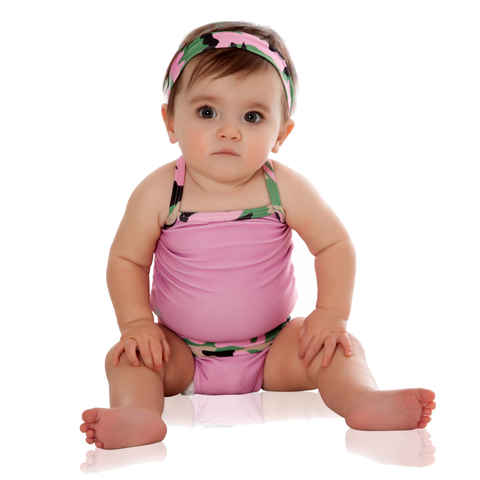 FASTEN baby girl pink swimsuit with camo trim. Patented design opens at waist, making diaper changes breaks faster and easier. Only 3 left in size 4!. UPF 50+ sun protection built in. Camo swimsuit for infant girls.