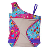 Summer Emoji one-shoulder swimsuit for girls by FASTEN. Features patented design that opens at the waist, making bathroom breaks faster and easier. Sizes 2T-10. UPF 50 sun protection built right in! One-shoulder design. Cute emoji pattern! Hidden back magnet to secure suit so it won't fall into toilet.
