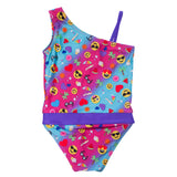 Summer Emoji one-shoulder swimsuit for girls by FASTEN. Features patented design that opens at the waist, making bathroom breaks faster and easier. Sizes 2T-10. UPF 50 sun protection built right in! One-shoulder design. Cute emoji pattern! Back view.