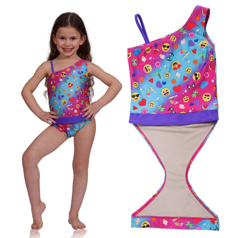 Summer Emoji one-shoulder swimsuit for girls by FASTEN. Features patented design that opens at the waist, making bathroom breaks faster and easier. Sizes 2T-10. UPF 50 sun protection built right in! One-shoulder design. Cute emoji pattern!