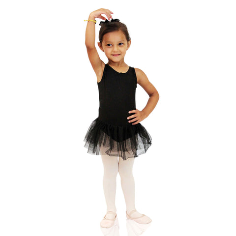 FASTEN tank leotard with tutu. Patented design opens and closes at the waist via hidden magnets and snaps. No need to remove leotard for potty break! Available in black and light pink. Sizes 2T-6.
