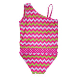 Watermelon Chevron one-shoulder girls swimsuit by FASTEN. UPF 50+ sun protection. Revolutionary easy change swimsuits feature magnetic closures that make for easier parenting and quicker bathroom breaks. Sizes 2T-10. One-shoulder design.