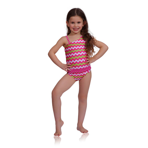 92393e33a6 Features patented design that opens Watermelon Chevron one-shoulder girls  swimsuit by FASTEN. UPF 50+ sun protection.