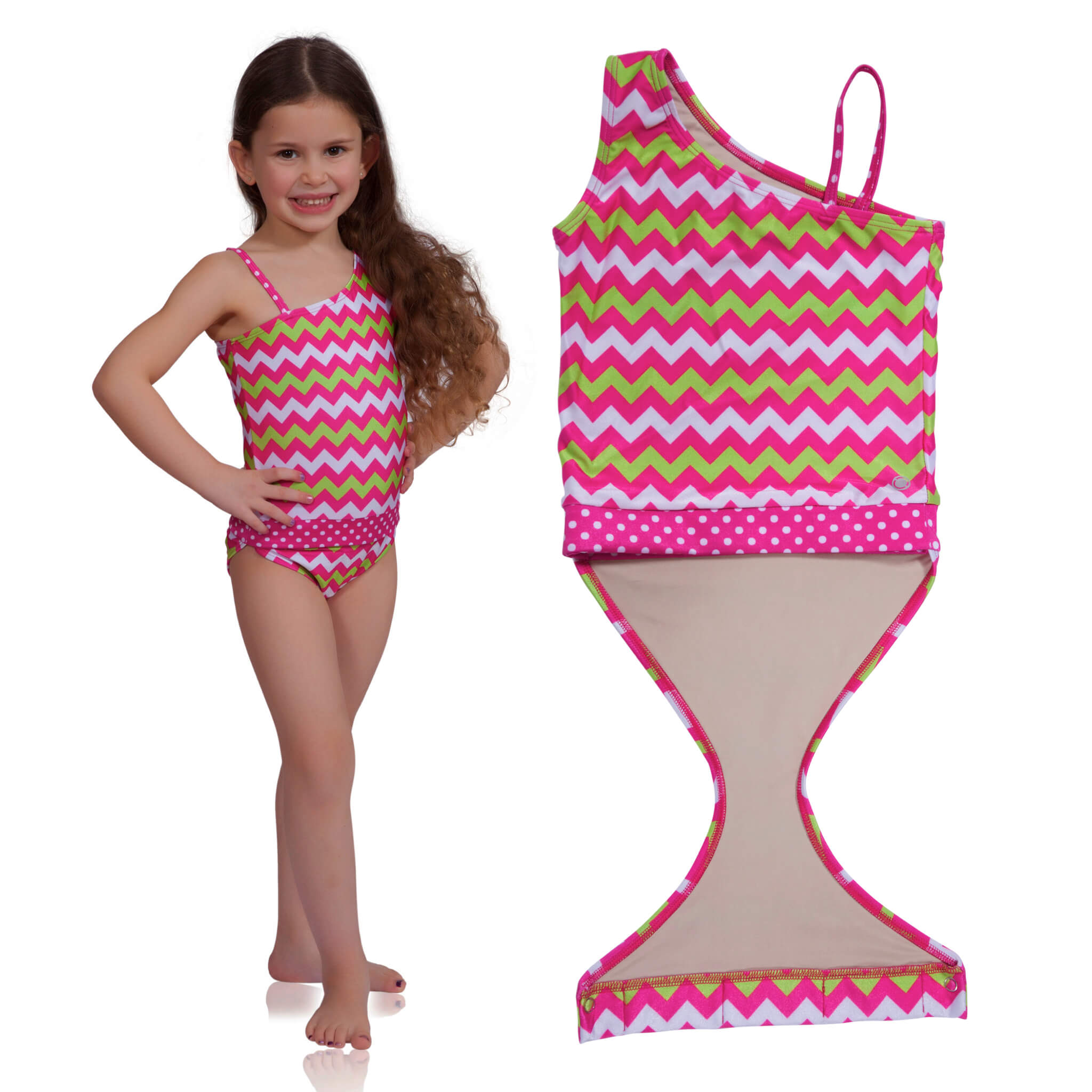 Watermelon Chevron one-shoulder swimsuit for girls by FASTEN. Features patented design that opens at the waist, making diaper changes and bathroom breaks faster and easier. Sizes 2T-10. UPF 50+ sun protection built right in! One-shoulder design.