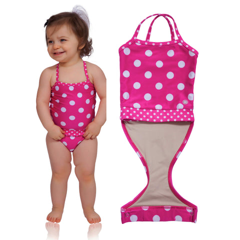 Watermelon Polka Dot baby girl swimsuit by FASTEN. Features patented design that opens at the waist, making diaper changes faster and easier. Sizes 6m-18m. Polka dot swimsuit for infant girls.
