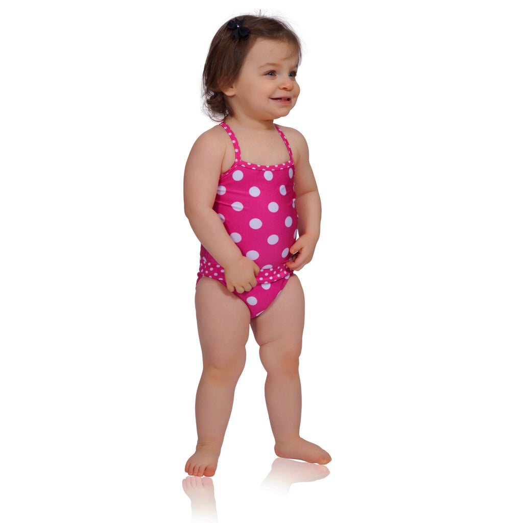 397f9814bd Watermelon polka dot baby girl swimsuit by FASTEN. Revolutionary easy  change swimsuits feature magnetic closures ...
