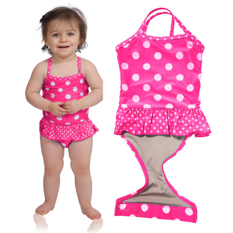 Watermelon Polka Dot toddler girl swimsuit with ruffle by FASTEN. Features patented design that opens at the waist, making diaper changes and bathroom breaks faster and easier. Sizes 2T-5. Polka dot swimsuit for girls.