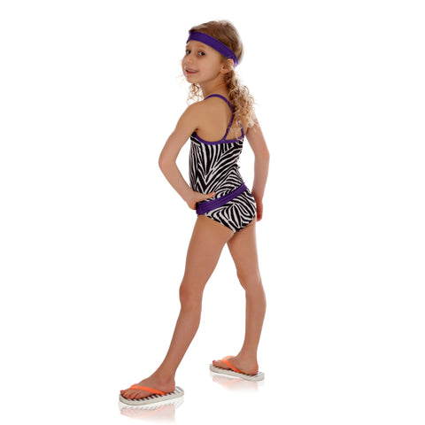 FASTEN girls zebra swimsuit with purple. Sizes 2T-5. UPF 50 sun protection. Patented design that opens at the waist, making diaper changes and bathroom breaks faster and easier. Cross-back design.