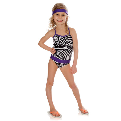 FASTEN zebra swimsuit with purple for girls. Sizes 2T-5. UPF 50 sun protection. Patented design that opens at the waist, making diaper changes and bathroom breaks faster and easier. Cross-back design with animal print pattern.