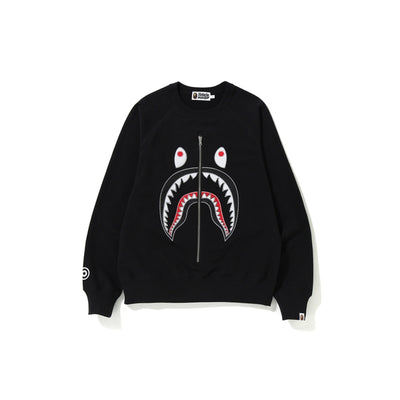 "A BATHING APE APPLIQUE SHARK CREWNECK "" BLACK """