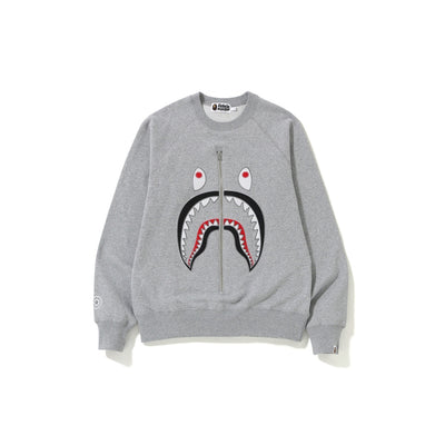 "A BATHING APE APPLIQUE SHARK CREWNECK "" GREY """