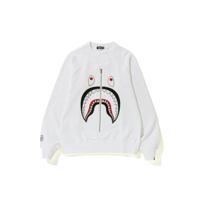 "A BATHING APE APPLIQUE SHARK CREWNECK "" WHITE """