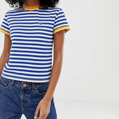 TOMMY JEANS SMALL LOGO STRIPE CROPPED TEE