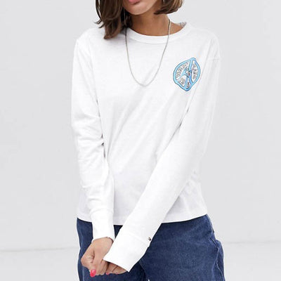TOMMY JEANS COTTON PEACE LOGO L/S TEE