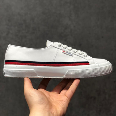 "SUPERGA 2750 Flag Leather "" WHITE x NAVY x RED """