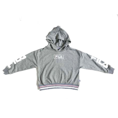 "Fila Embroidery Box Logo Hoodie Youth "" Grey """