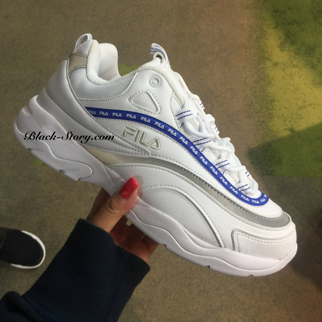 "FILA Tape Logo Ray "" WHITE x BLUE """