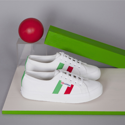 "SUPERGA 2750 Flag Side "" WHITE x GREEN x RED """
