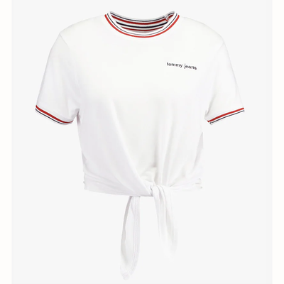 TOMMY JEANS TIE FRONT LOGO TEE