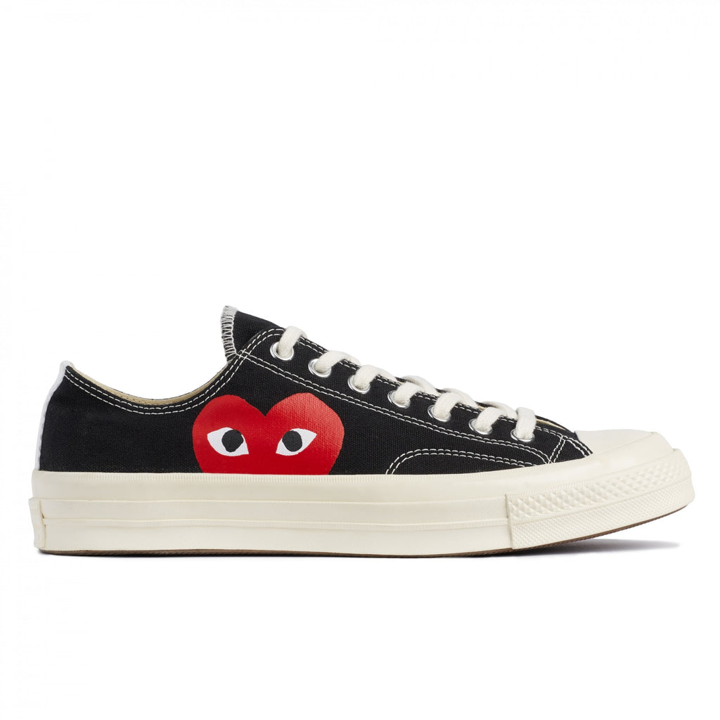 "COMME DES GARCONS PLAY x CONVERSE RED HEART CHUCK TAYLOR ALL STAR '70 LOW "" BLACK """