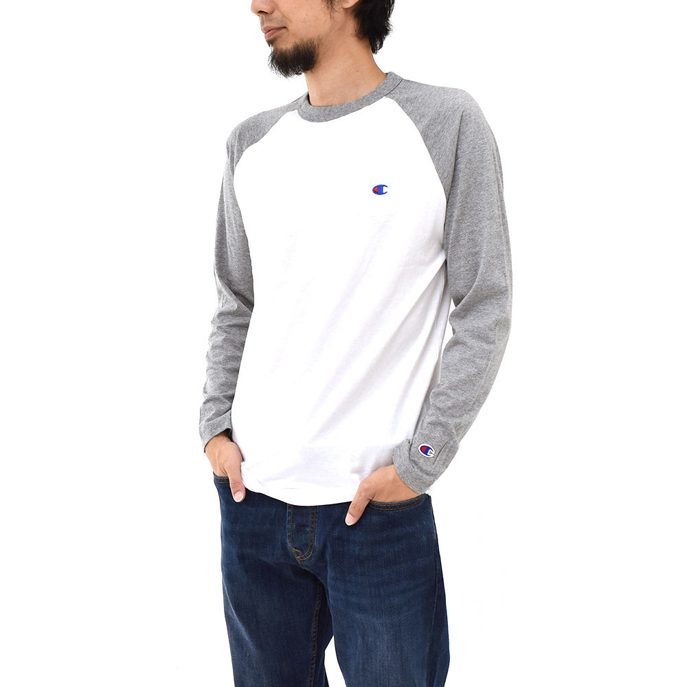 Champion Small Logo Long-Sleeve T-shirt (White/Grey)