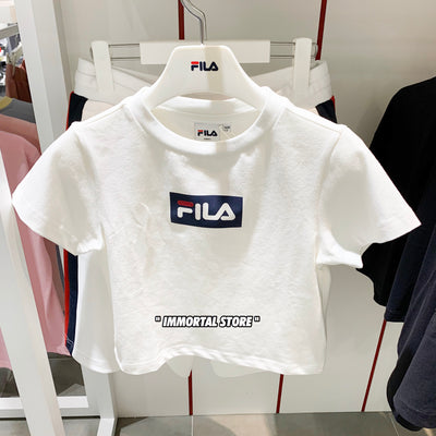 "Fila Box Logo Crop Tee "" White """