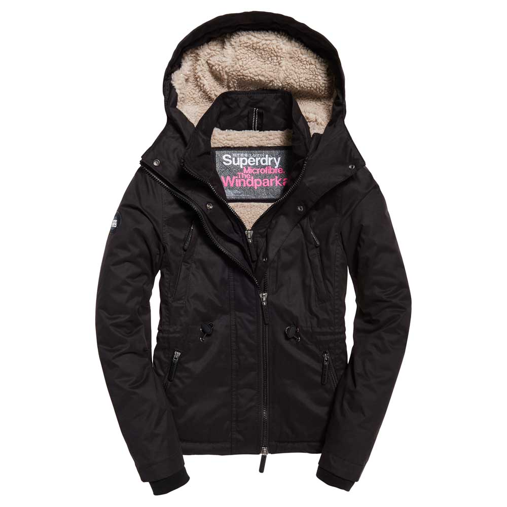 "Superdry WOMEN Boxy Snorkle Hooded Windparka "" Black """