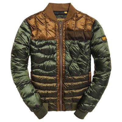 "Superdry Convex Mixed Quilt Bomber Jacket "" Olive """