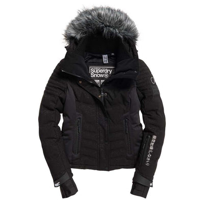 "Superdry WOMEN Luxe Snow Puffer Jacket "" Black Forest """