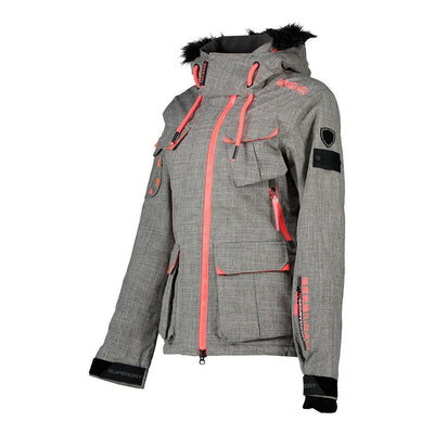 "Superdry WOMEN Ultimate Snow Service Jacket "" Light Grey x Coral """