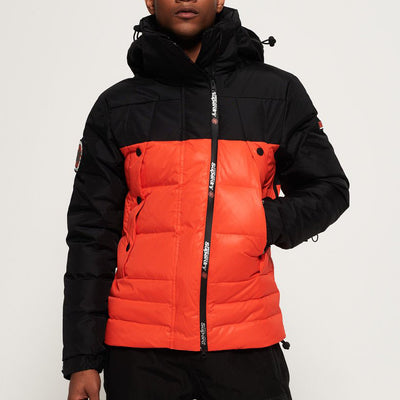 "Superdry Super Canadian Ski Down Puffer Jacket "" Black x Orange """