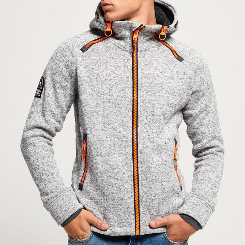 "Superdry Storm Double Zip Hoodie  "" Light Grey """