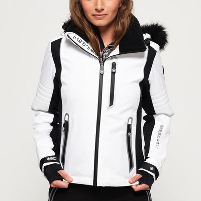 "Superdry WOMEN Sleek Piste Ski Jacket "" White """