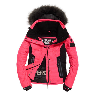 "Superdry WOMEN Luxe Snow Puffer Jacket "" Pink """