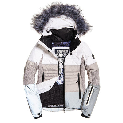 "Superdry WOMEN Snow Cat Ski Down "" Off White x Reflective Grey """