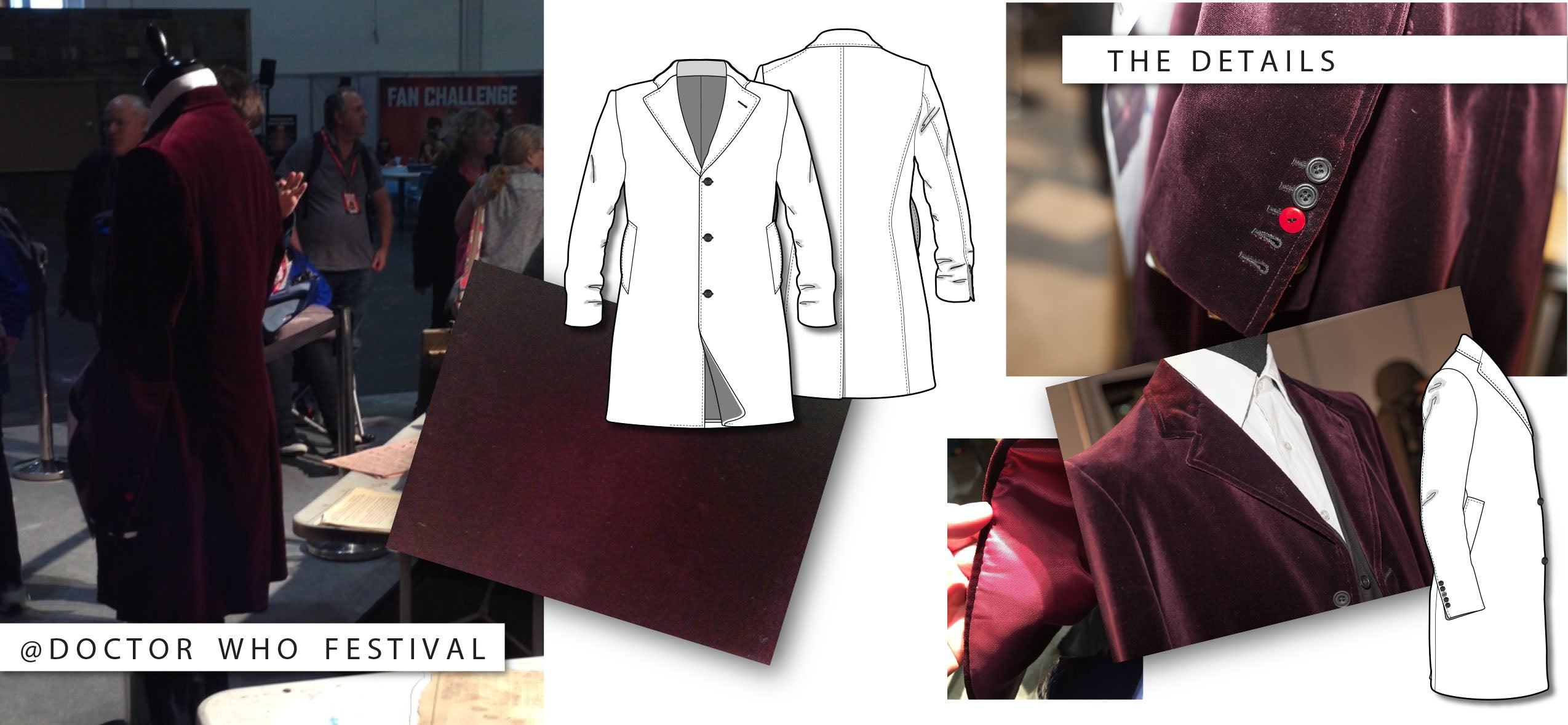 Twelfth Doctor's Red Velvet Coat Tech Collage