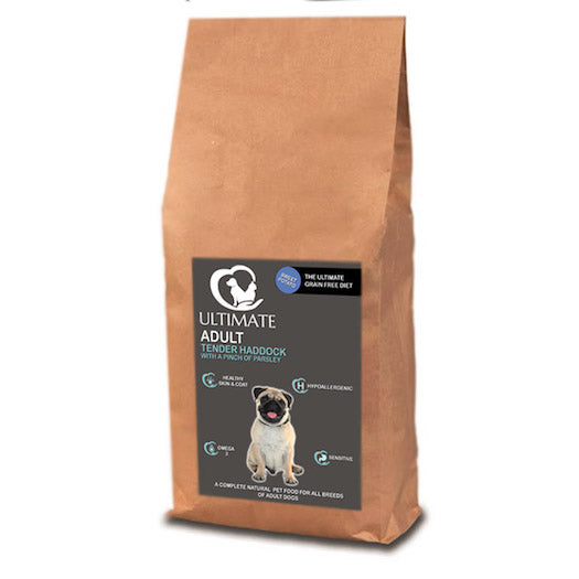 Complete grain free dog food with haddock