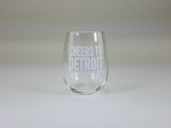 Cheers to Detroit Stemless Wine Glass