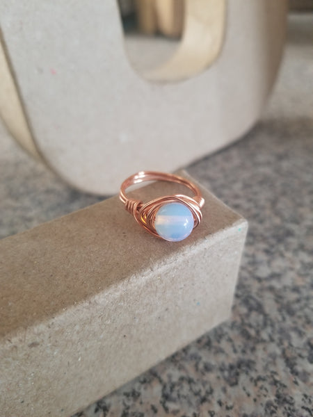 Copper wrapped Opalite Moonstone Ring: Gold, Rose Gold, Silver