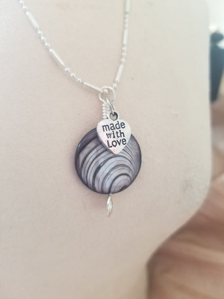 Polished Sea Shell Pendant Necklace Made With Love Charm