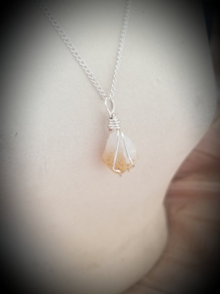Wire Wrapped Citrine Stone Necklace
