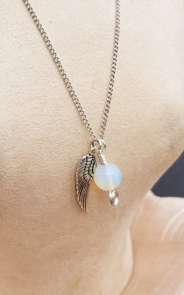 Opalite Moonstone Pendant Necklace with or without Angel Wing Charm