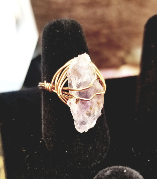Wire Wrapped Amethyst Ring: Gold, Rose Gold, Silver